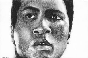 The Greatest - Ali by Amrit Ramnath, Impressionism Drawing, Charcoal on Paper, Gray color