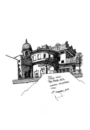 Shiv Niwas, Udaipur by Amrit Ramnath, Illustration Drawing, Ink on Paper, White color