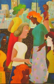 Busy time by Chaitali Chatterjee, Expressionism Painting, Oil on Canvas, Brown color