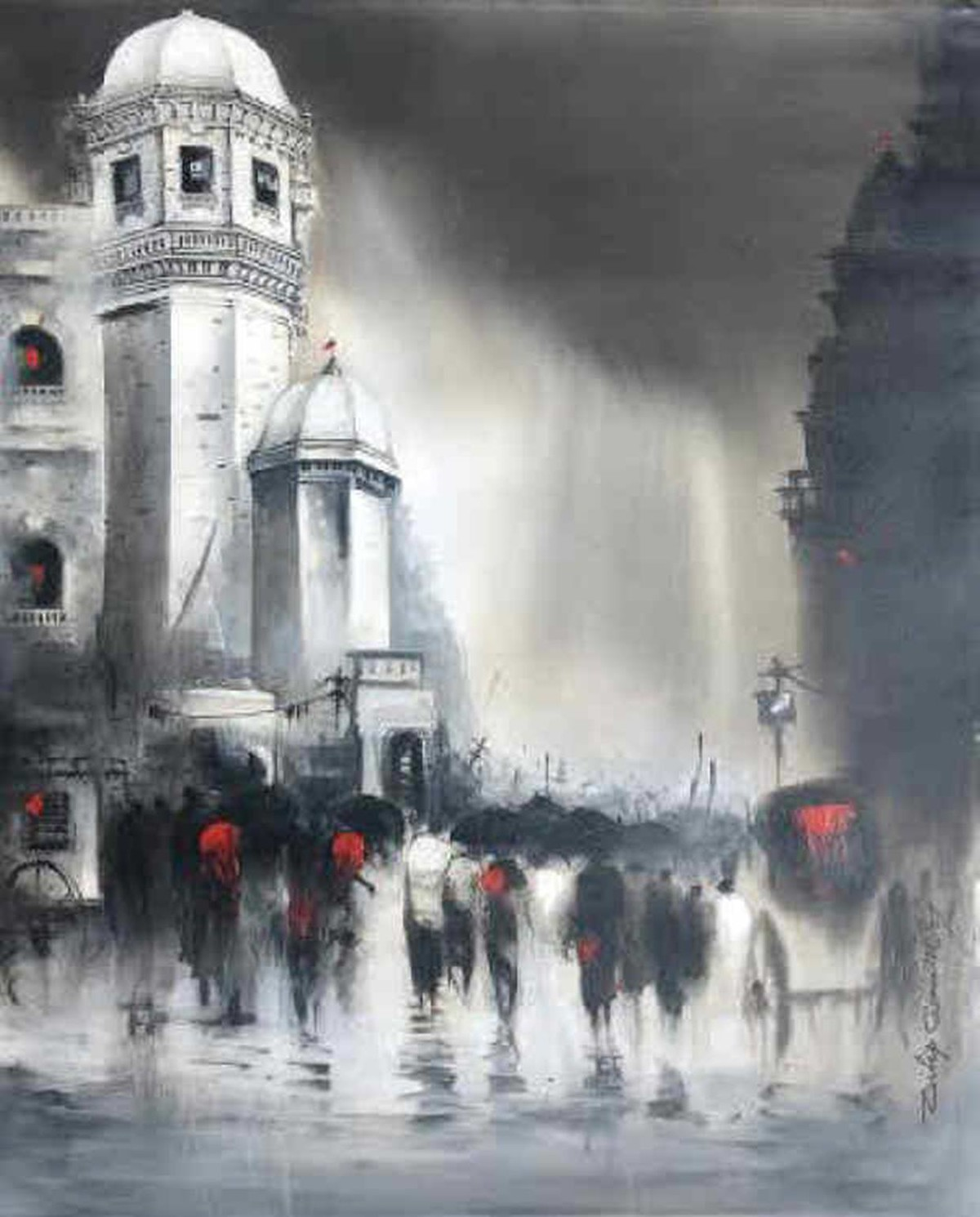 Majestic Monsoons by Dilip Chaudhury, Impressionism Painting, Acrylic on Canvas, Gray color