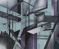 In conversation with spaces by Alka Jhamb, Cubism Painting, Oil & Acrylic on Canvas, Green color