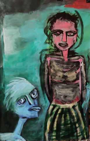 Man approaching by Gautam Das, Expressionism Painting, Acrylic on Paper, Green color