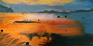 Orange Sunset by Tejal Bhagat, Impressionism Painting, Acrylic on Canvas, Brown color