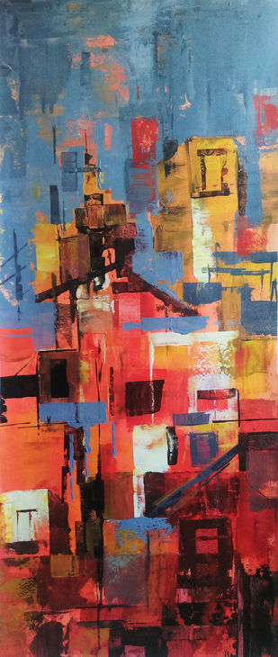 Red City by A.R.Ramesh, Abstract Painting, Acrylic on Canvas, Brown color