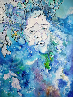 vanishing face by onima kashyap, Expressionism Painting, Acrylic & Ink on Canvas, Cyan color