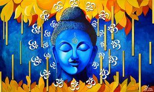 Buddha by Shrey Sukhee, Decorative Painting, Acrylic on Canvas,