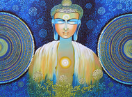 BE A BUDDHA by NITU CHHAJER, Expressionism Painting, Acrylic on Canvas, Blue color
