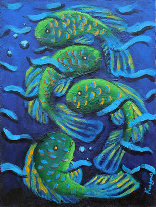 Harmony by Kavya vyas , Expressionism Painting, Acrylic on Canvas, Blue color