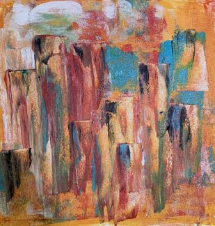 Cityscape by Amit Pithadia, Abstract Painting, Acrylic on Canvas, Brown color