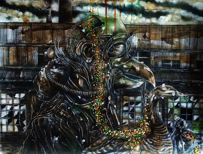 the heart knows better by Ishwar Gurung, Surrealism Drawing, Mixed Media on Paper, Gray color