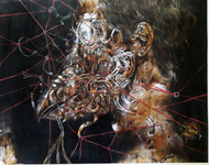 Metal fatigue by Ishwar Gurung, Surrealism Painting, Mixed Media on Paper, Brown color