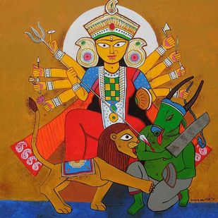 Durga by Ashoke Mullick, Expressionism Painting, Acrylic on Canvas, Brown color