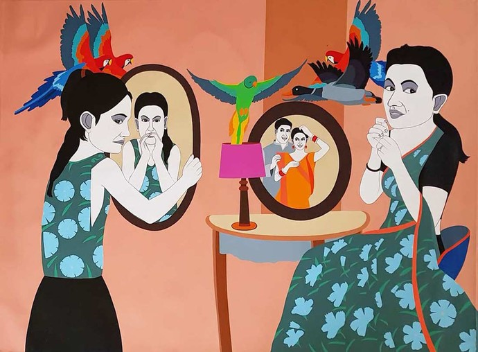 """Mirror Couple, Acrylic on Canvas, Red, Orange, Green Colours """"In Stock"""" by Farhad Hussain, Pop Art Painting, Acrylic on Canvas, Brown color"""
