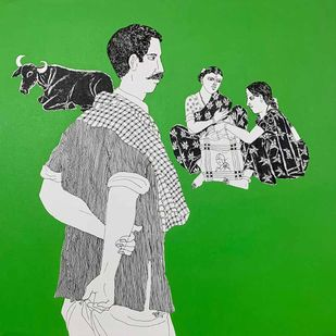 """Untitled, Acrylic on Canvas, Green, White, Black Colours by Contemporary Artist """"In Stock"""" by Laxman Aelay, Expressionism Painting, Acrylic on Canvas, Green color"""