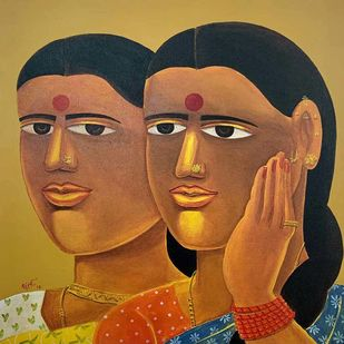 """Untitled, Acrylic on Canvas Red, Yellow, Orange, Black Colours by Contemporary Artist """"In Stock"""" by Laxman Aelay, Expressionism Painting, Acrylic on Canvas, Brown color"""