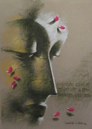 Yugpurush by Sanatan Dinda, Expressionism Painting, Pastel on Paper, Brown color