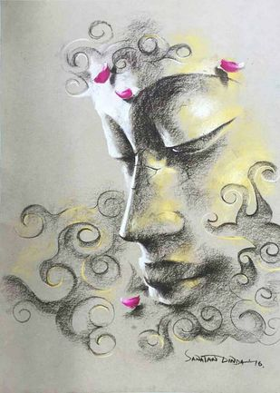 Yugpurush by Sanatan Dinda, Expressionism Painting, Dry Pastel on Paper, Gray color