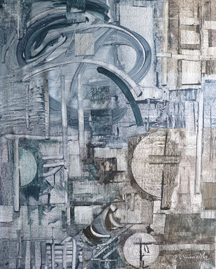 mechanism by A.R.Ramesh, Abstract Painting, Acrylic on Canvas, Green color
