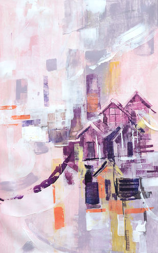 Seashore City by A.R.Ramesh, Abstract Painting, Acrylic on Canvas, Pink color