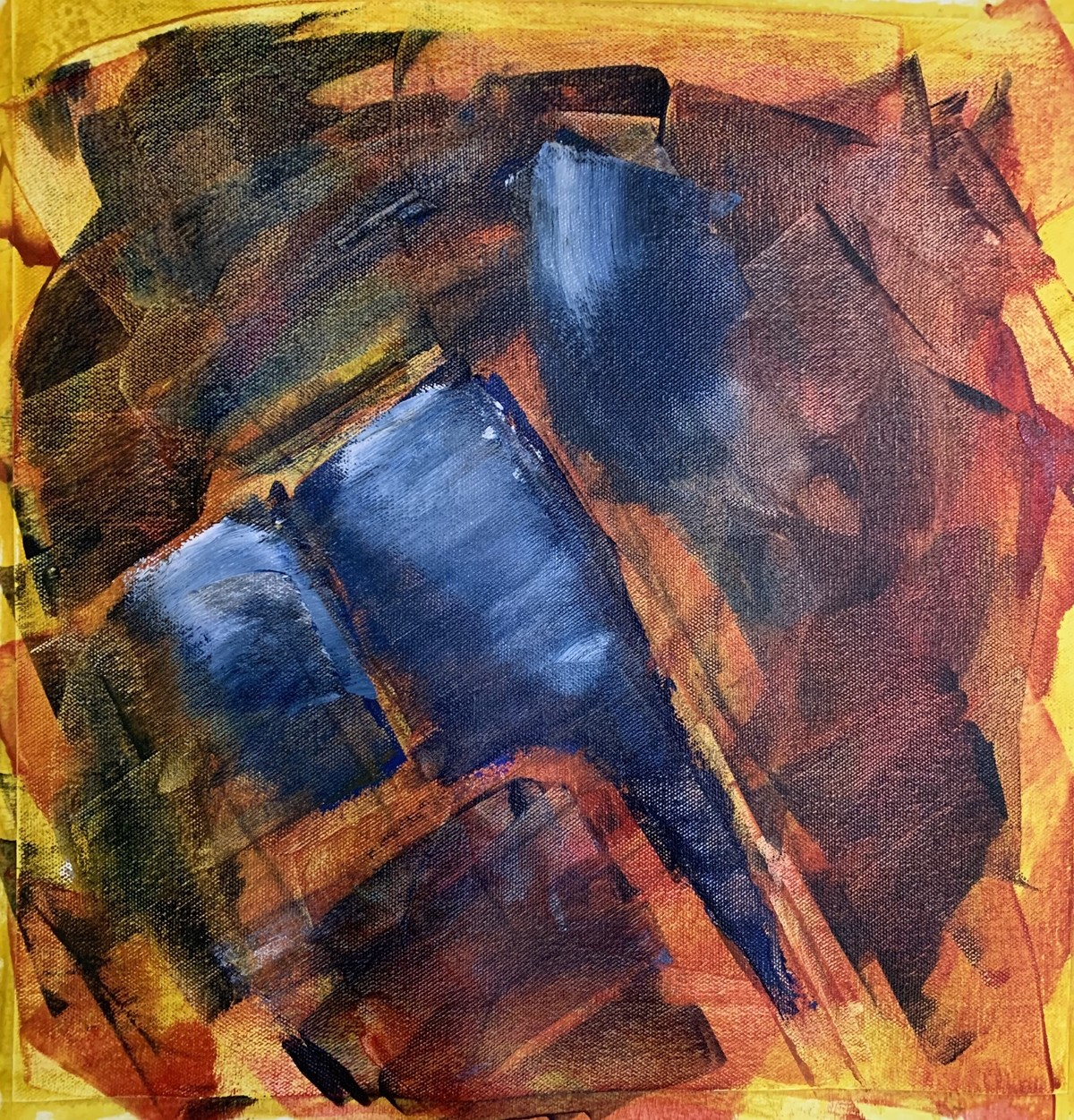 Shree Ganesh by Amit Pithadia, Abstract Painting, Acrylic on Canvas, Brown color