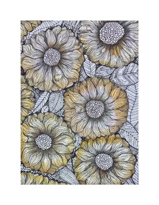 flora by Prajakta Shirangare, Illustration Drawing, Pen & Ink on Paper, Gray color