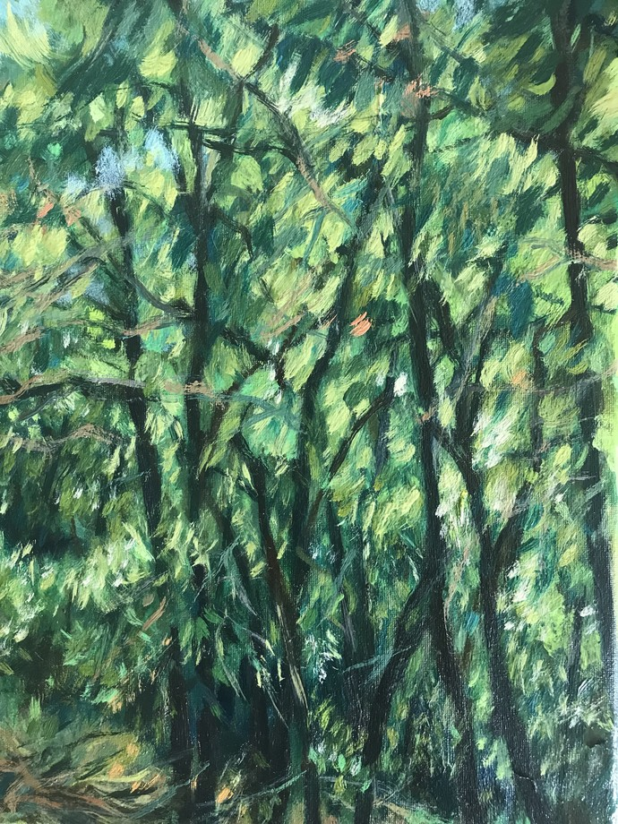 Trees by Sujata Khanolkar, Impressionism Painting, Oil on Canvas, Green color