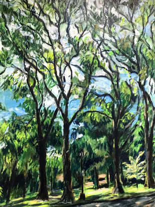 Trees-1 by Sujata Khanolkar, Impressionism Painting, Oil on Canvas, Green color