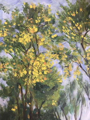 Trees-3 by Sujata Khanolkar, Impressionism Painting, Acrylic on Canvas, Beige color