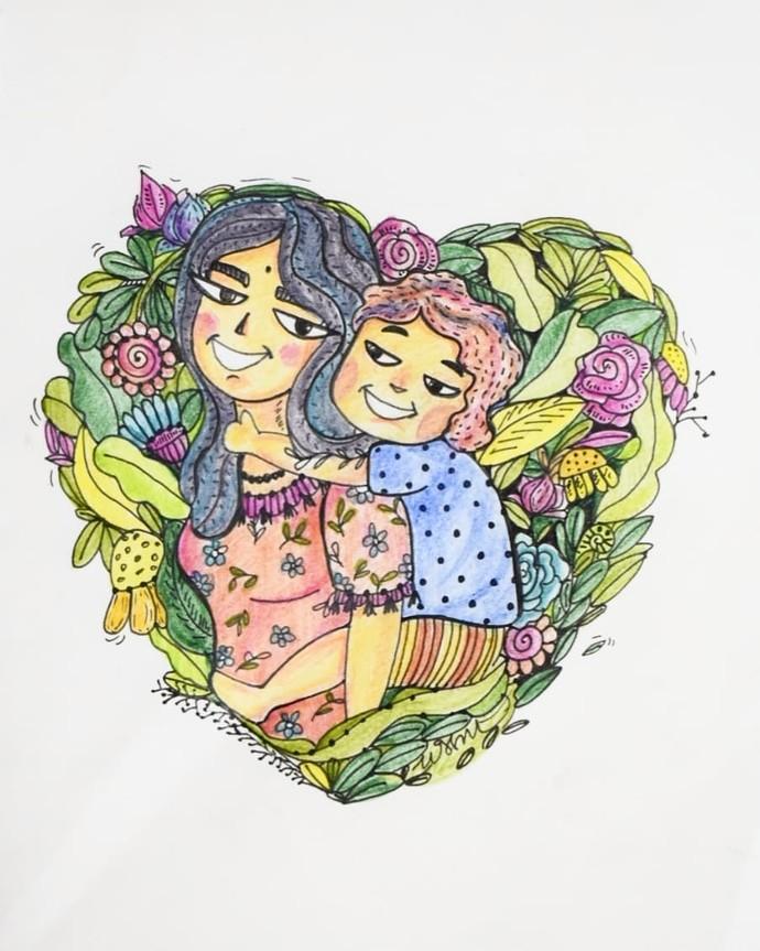 A maternal bond by Prajakta Shirangare, Pop Art Drawing, Mixed Media on Paper, Gray color