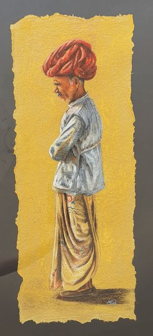 Rural life by Netal Rathore, Expressionism Painting, Dry Pastel on Paper, Brown color
