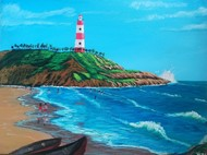 Light house by Venugopal Sunkad, Impressionism Painting, Acrylic on Canvas, Cyan color