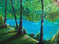 Lakeside walk by Venugopal Sunkad, Impressionism Painting, Acrylic on Canvas, Green color