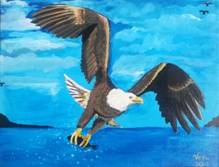 The Ultimate Predator by Venugopal Sunkad, Image Painting, Acrylic on Canvas, Cyan color