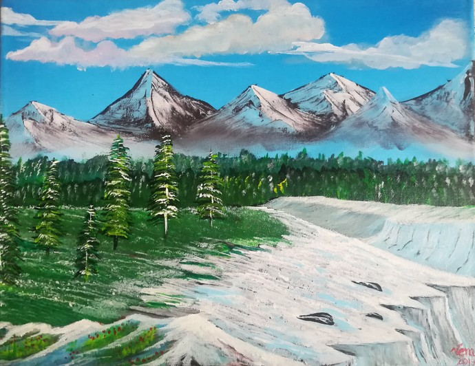 Valley of Snow by Venugopal Sunkad, Impressionism Painting, Acrylic on Canvas, Green color