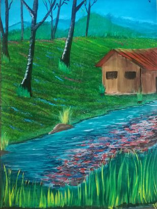 After the rain by Venugopal Sunkad, Impressionism Painting, Acrylic on Canvas, Green color