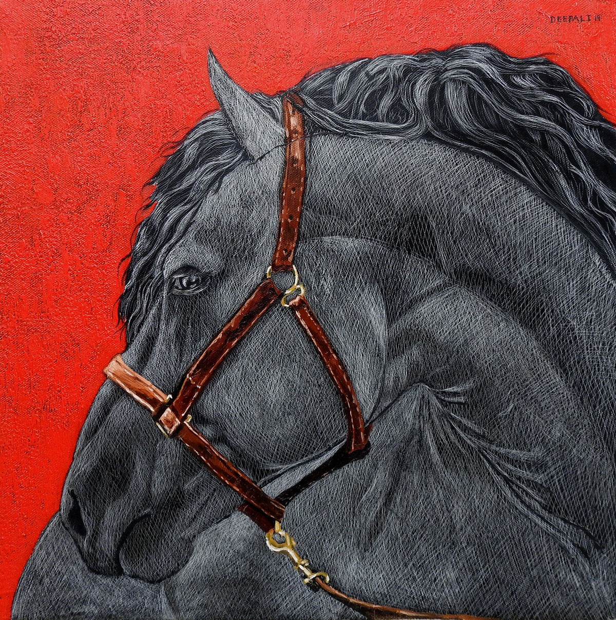 Horses by Deepali S, Photorealism Painting, Oil & Acrylic on Canvas, Gray color