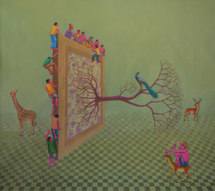 Social Reformation,Demands by Partha Mondal, Surrealism Painting, Oil & Acrylic on Canvas, Beige color