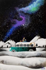 Stargazing by Shrey Sukhee, Fantasy Painting, Acrylic on Canvas, Gray color