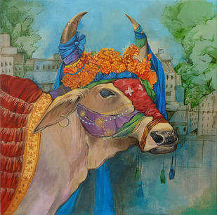 Indian Cow by Manuela Gomes, Expressionism Painting, Acrylic on Canvas, Green color