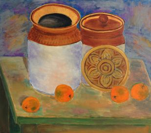 Still life with four oranges and two earthen jars on a table. by Vikram Malik, Expressionism Painting, Acrylic on Canvas, Brown color