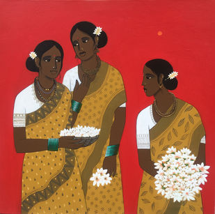 three friends by Nagesh Ghodke, Expressionism Painting, Acrylic on Canvas, Brown color