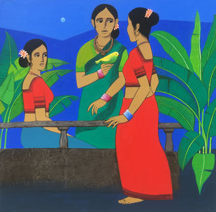 three friends I by Nagesh Ghodke, Expressionism Painting, Acrylic on Canvas, Blue color