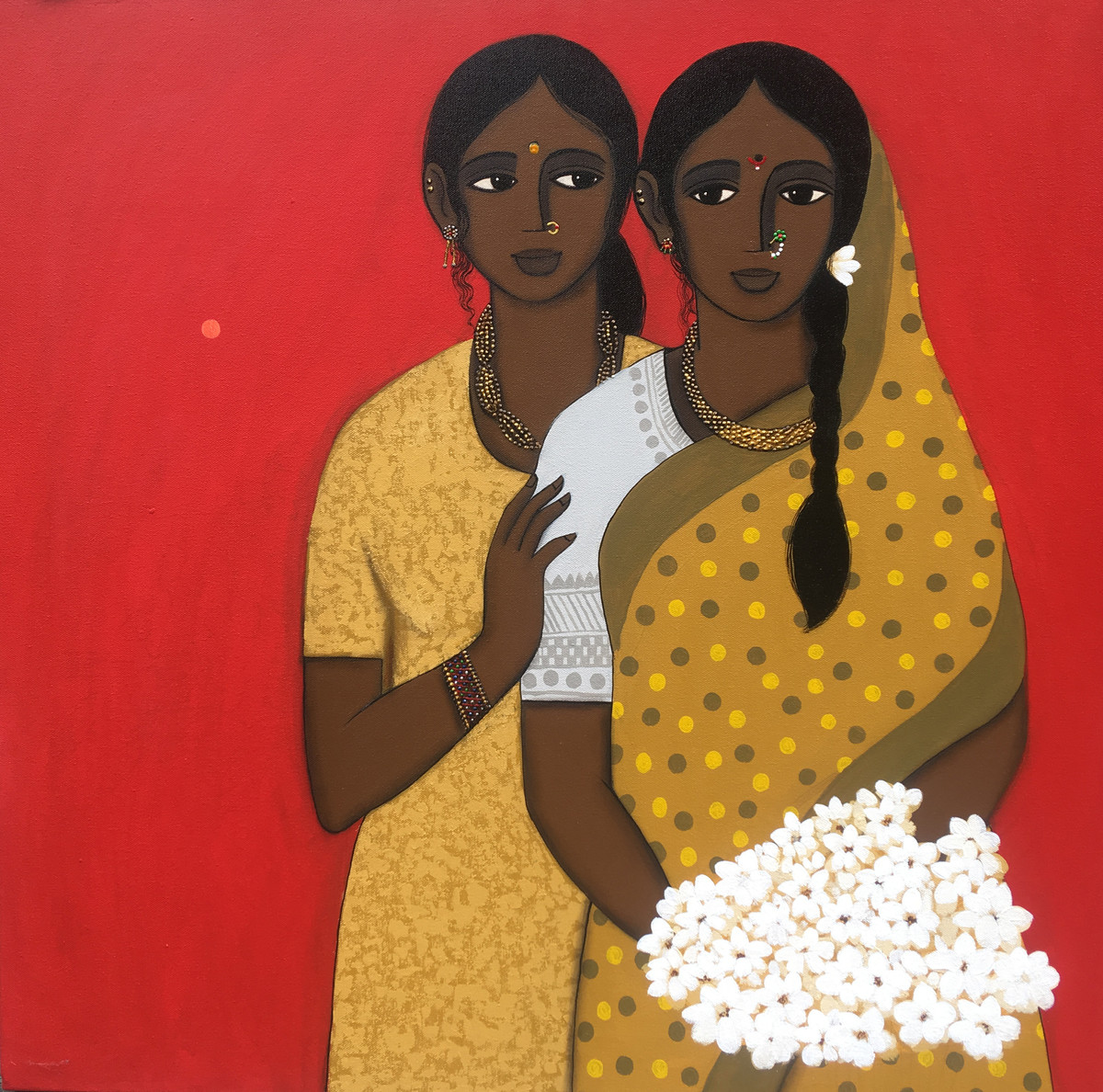 two friends I by Nagesh Ghodke, Expressionism Painting, Acrylic on Canvas, Brown color
