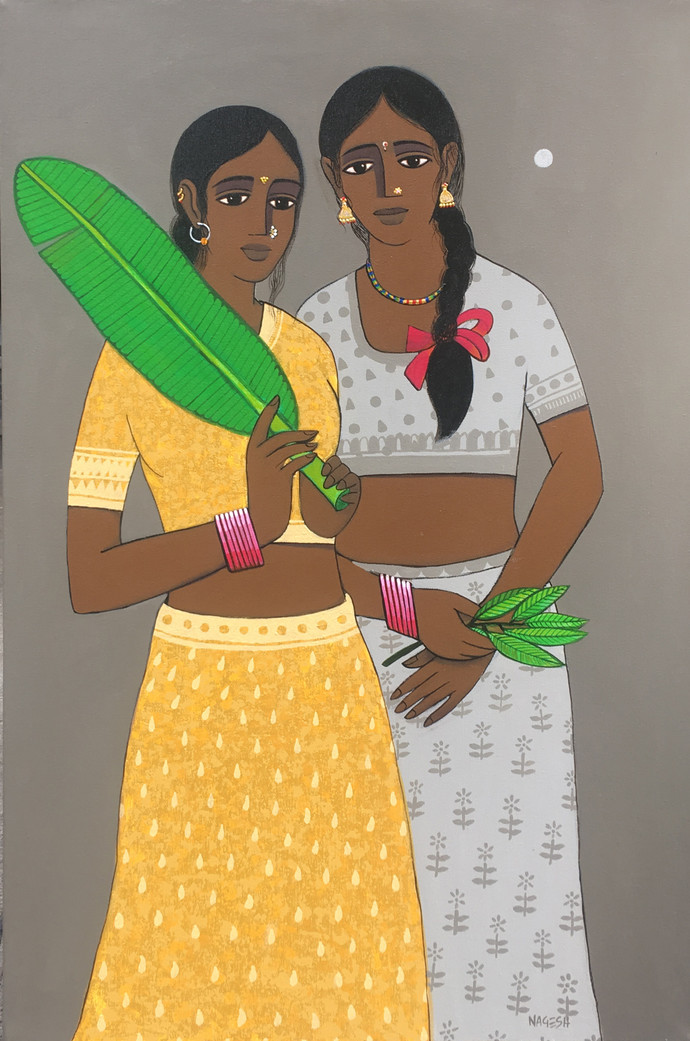 two II friends by Nagesh Ghodke, Expressionism Painting, Acrylic on Canvas, Brown color