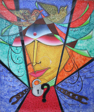 Freedom? by Gitanjali Sahoo, Expressionism Painting, Acrylic on Canvas, Blue color