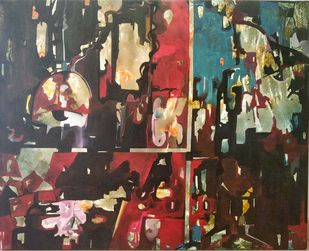 Shades of Life by Shubh, Abstract Painting, Oil on Canvas, Brown color