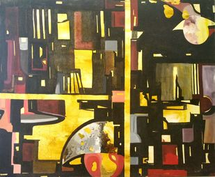 Colors of Joy and Sorrow by Shubh, Abstract Painting, Oil on Canvas, Brown color