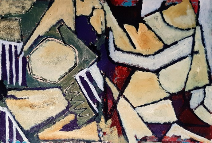 The Perpetual Tussle by Pankaj Mishra, Abstract Painting, Acrylic on Canvas, Brown color
