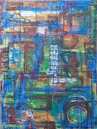 Vivaciously Prodigal by Pankaj Mishra, Abstract Painting, Acrylic on Canvas, Green color