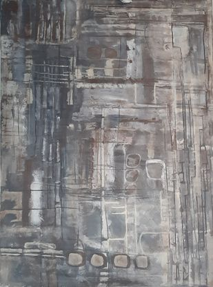 Order of the Chaos by Pankaj Mishra, Abstract Painting, Acrylic on Canvas, Gray color